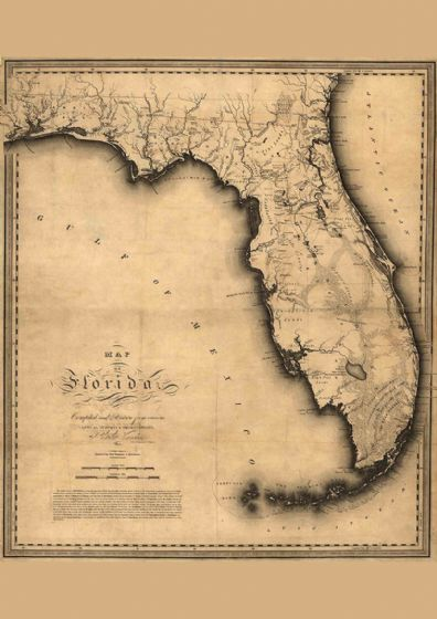 Map Of Florida 1823. Print/Poster (4849)